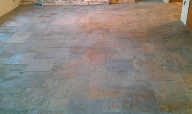 Floor Versailles Pattern Gauged Rustic Gold Slate Contemporary