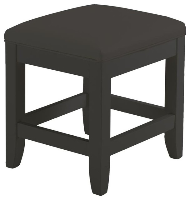 Bedford Vanity Bench Black Transitional Vanity Stools