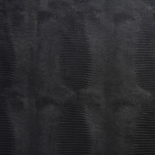 Black Textured Alligator Faux Leather Vinyl By The Yard