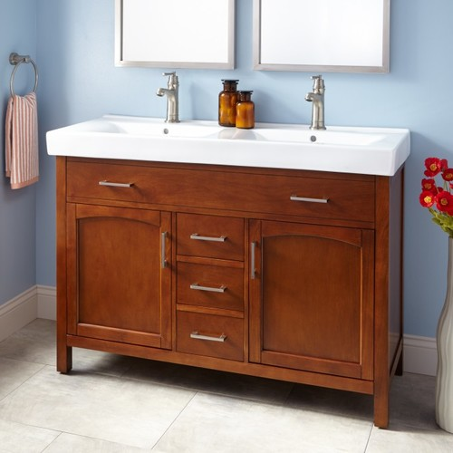 48 vanity with sink. From Here Http Www Signaturehardware Com 48 Bates Double Vanity Cabinet Oak Html Zmam 57003275 Zmac 8 Zmas 1 Zmap 414271 C3ch PLA C3nid GooglePLA Gclid  Should I Convert Single Sink To W Only Counter