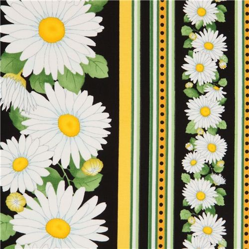 black daisy in stripes fabric by Timeless Treasures USA