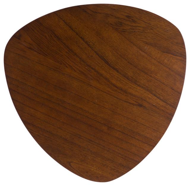 Finnian Modernistic Designed Wood Finish End Table, Walnut.