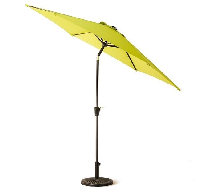 Grand Patio 9&x27; Patio Umbrella With Push Button Tilt And Crank, Lime Green.