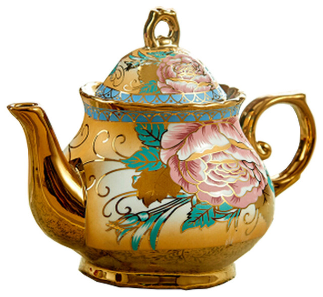 Small Carnation Ceramic Tea Pot Beautiful Details