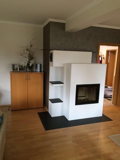 Umbau Eines Bestehenden Kachelofens Gegen Einen Modernen Grundofen Heizkamin Modern Wohnzimmer
