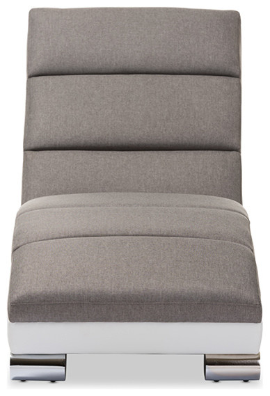 Percy Modern Gray Fabric And White Faux Leather Upholstered Chaise Lounge.