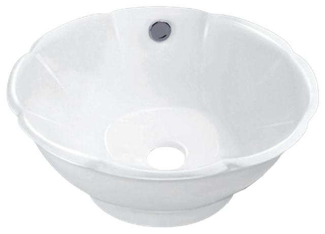 "Vanity Fantasies ""bloom"" Decorative Porcelain Round Shape Vessel Sink, White."