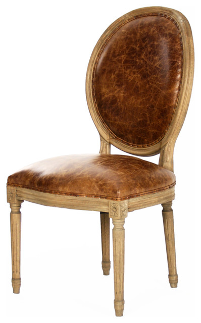 Merveilleux French Country Louis XVI Oval Back Leather Dining Side Chair