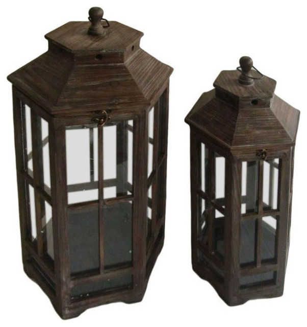Wood And Glass Lantern Home Decorative Accent 2 Piece Set Traditional Candleholders By Clickhere2shop