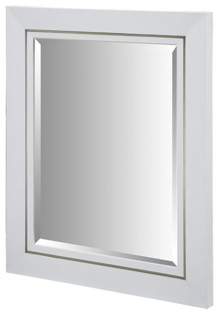 Xylem Manhattan 36 Inch White Wall Mirror Contemporary Bathroom Mirrors