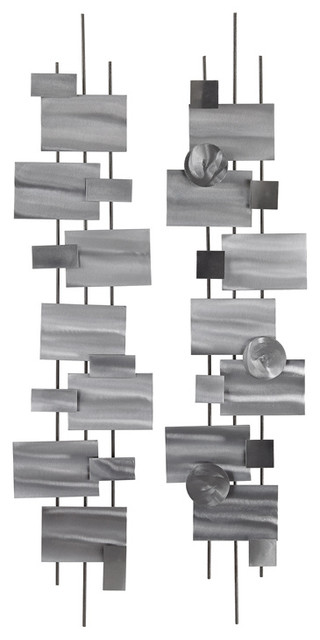 Vertical Metal Wall Art lazy susan vertical shapes wall decor - contemporary - metal wall