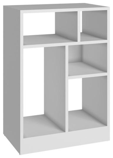 Bowery Hill 5-Shelf Bookcase, White.