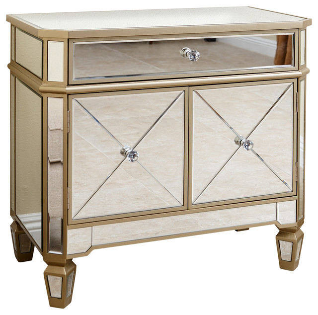 alexis gold trim mirrored console cabinet