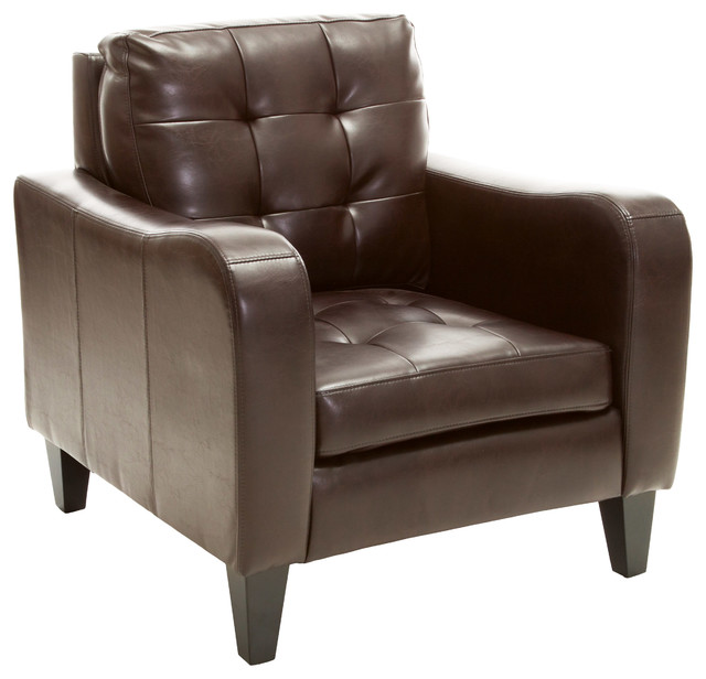 Bowdon Leather Club Chair Brown Contemporary