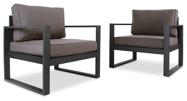 Set of 2 Baltic Outdoor Chairs, Black - Contemporary - Outdoor ...