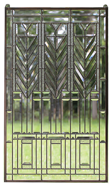 "20/"" x 36/"" Stained Glass Window Panel Frank Lloyd Wright Prairie Style panel"