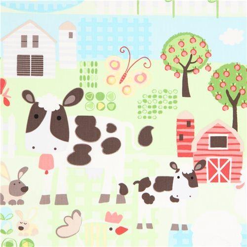 green farm animal fabric cow sheep Timeless Treasures