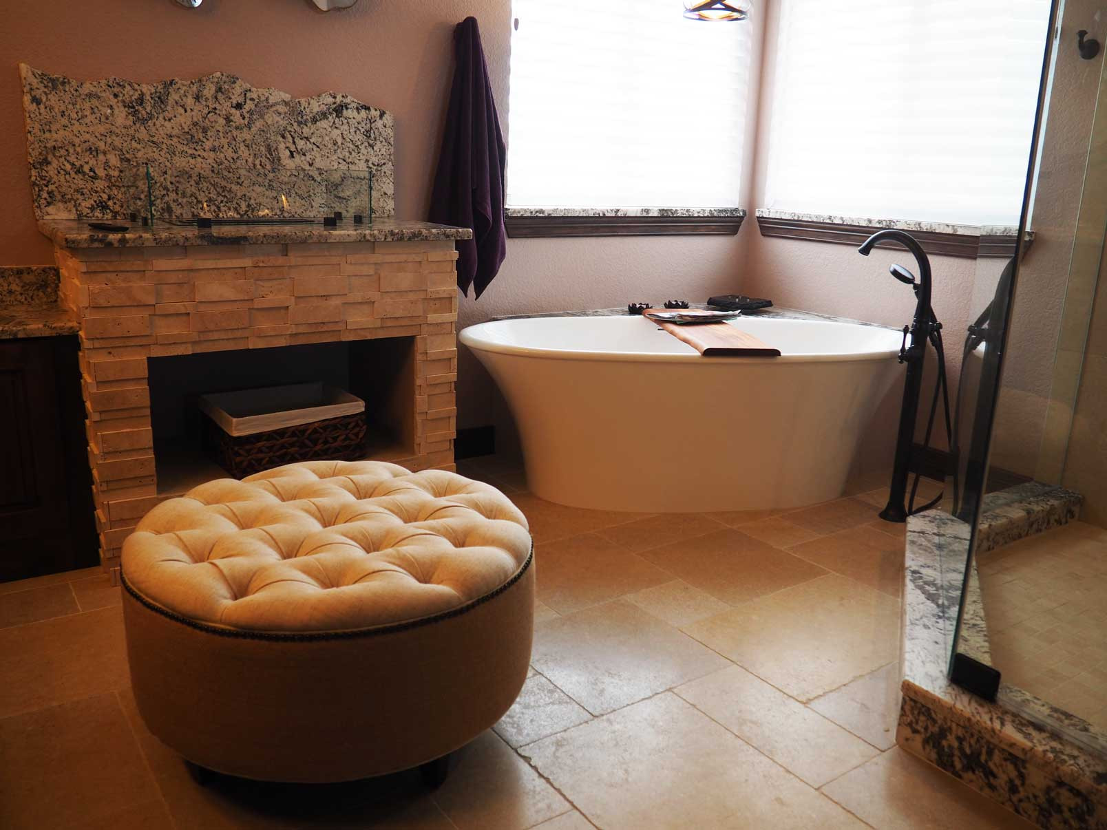 Master Bathroom with a Fireplace!