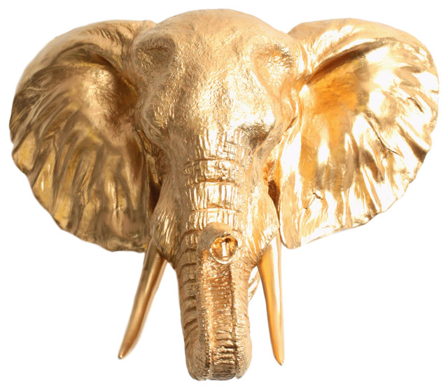 Faux Elephant Head Wall Mount Contemporary Wall Sculptures By