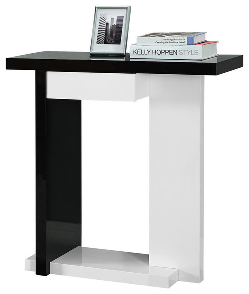 "32"" Hall Console Accent Table, Black/White"