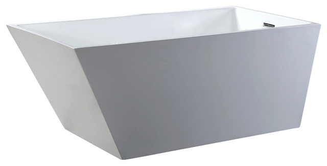 Helixbath Piraeus Freestanding Acrylic White Bathrub With Rectangle Overflow.