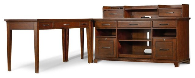 Computer Credenza With 5 Drawers Transitional Desks