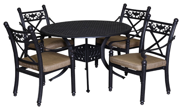 Patio retreat barcelona 5 piece dining set with 42 for Traditional round dining table sets