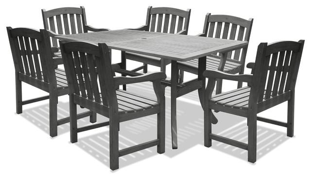 Renaissance Outdoor 7-Piece Hand-Scraped Wood Patio Dining Set.