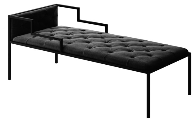 Oscar chaise long with frame modern indoor chaise for Aluminum frame chaise lounge