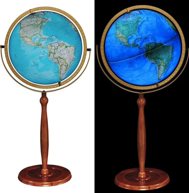 Chamberlin 16 Blue Illuminated Ngs Floor Globe Traditional World Globes By J Thomas Products