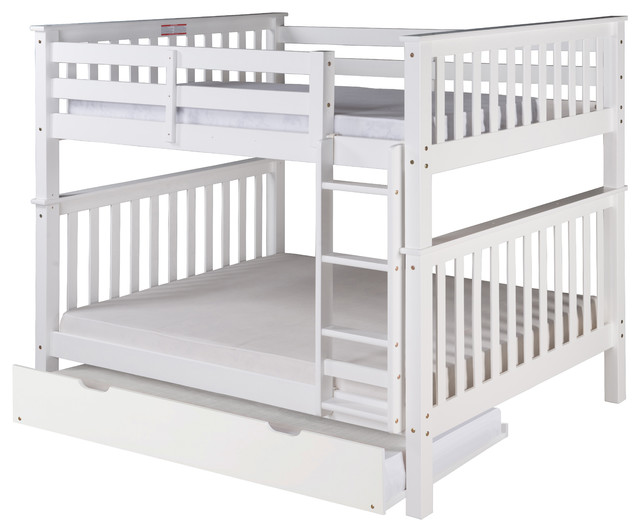 Santa Fe Mission Tall Bunk Bed Full Over Full, Ladder With Twin Trundle, White.