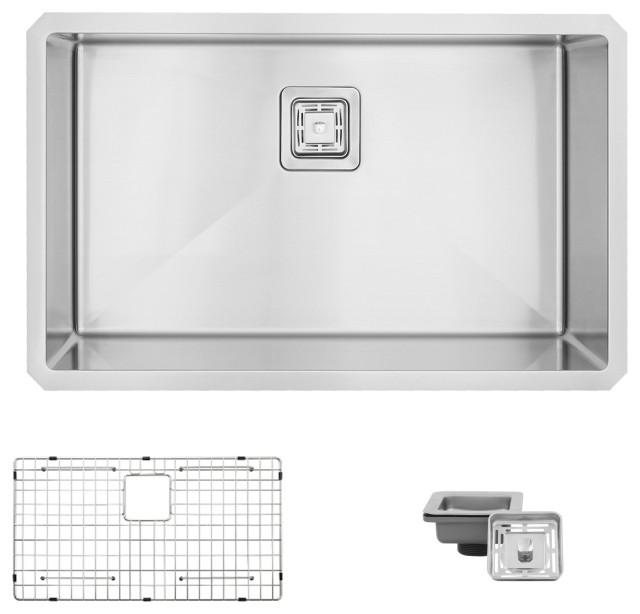 "STYLISH 30"" Single Bowl 16G Stainless Steel Kitchen Sink, Grid, S-511XG - Jet"