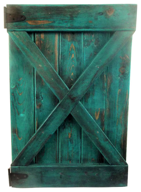 Small Rustic Turquoise Barn Door Wall Decor