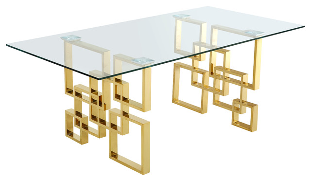 Pierre Dining Table Gold Contemporary Tables