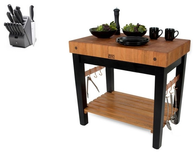 John Boos Butcher Block and 13 Piece Henckels Knife Set, Casters