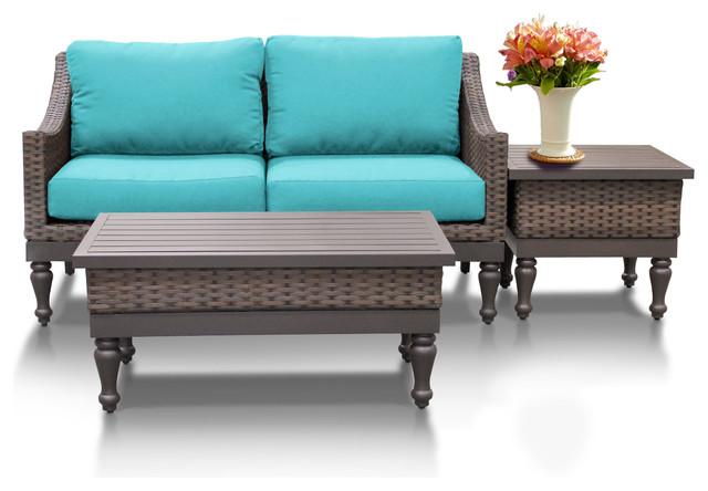 TKClassics Soho 3 Piece Outdoor Wicker Patio Furniture Set Outdoor Lounge S