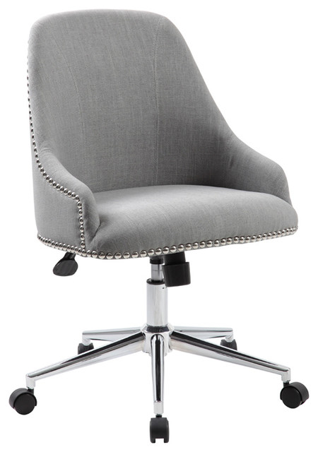Boss Office Products Carnegie Desk Chair, Gray Contemporary Office Chairs
