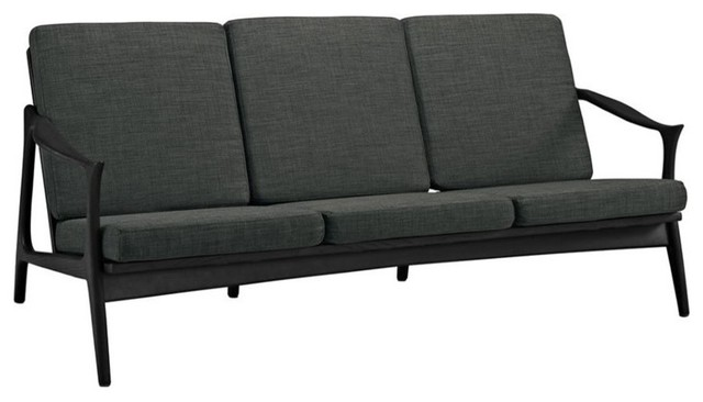 Modway Modway Pace Fabric Sofa Black And Gray Outdoor
