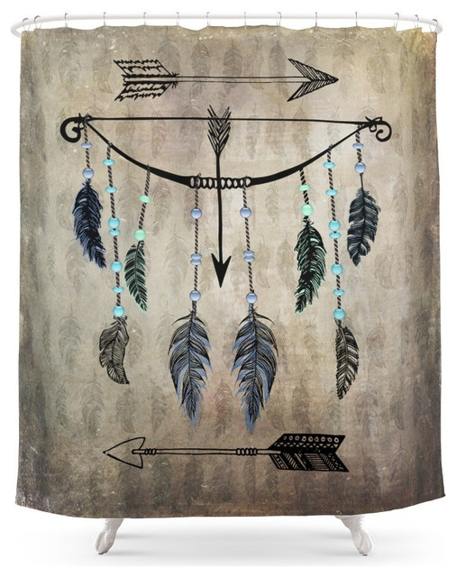 Society6 Bow Arrow And Feathers Shower Curtain