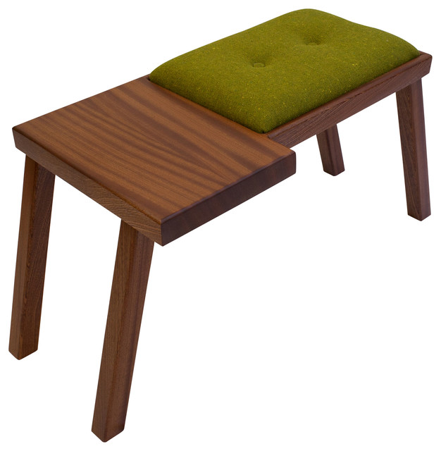 The Raymond Bench, Sapele With Green Wool Tweed.