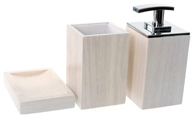 Wooden 3 Piece Brown Bathroom Accessory Set