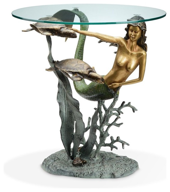 Shop houzz mermaid and sea turtles end table side for Mermaid coffee table