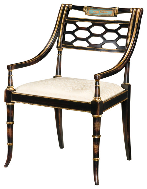 Regency Style Black And Gold Armchair Traditional