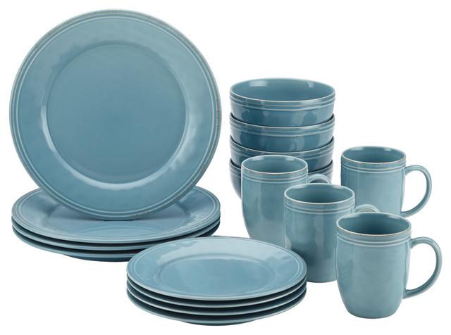 Cucina Dinnerware 16 Piece Stoneware Dinnerware Set Agave Blue Transitional Dinnerware Sets