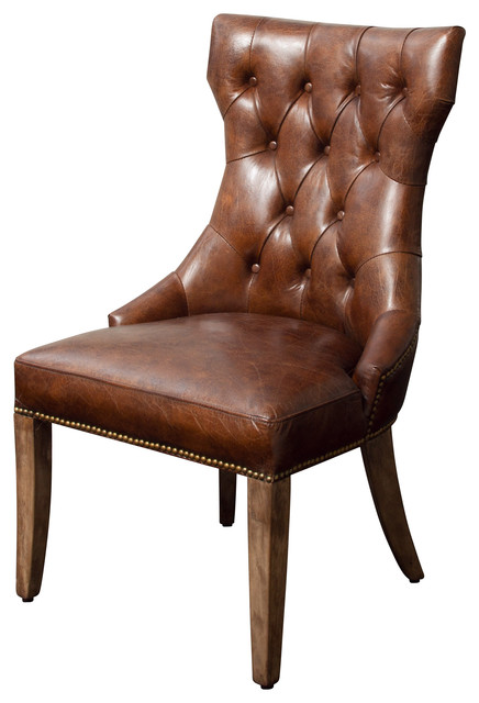 Hartwell Brown Top Grain Leather Dining Chair