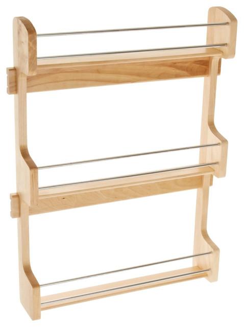 """Door Mount Spice Rack 21"""" Wood."""