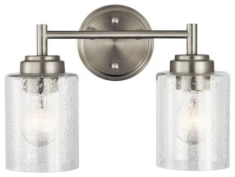 "Kichler 45885 Winslow 2 Light 12-3/4"" Bathroom Vanity Light, Brushed Nickel"