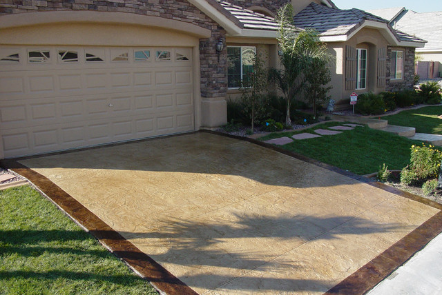 Stamped Concrete Overlay On Driveway Modern