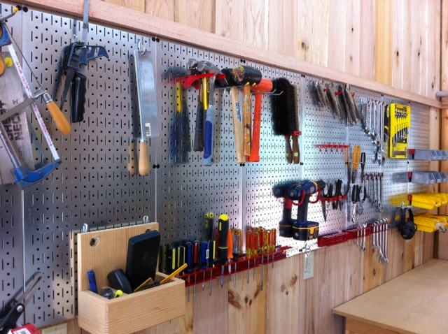 Garage Workbench Pegboard Wall Control Metal Framed In A Rustic Wooden Country