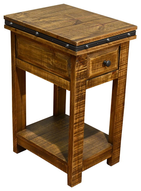 Rustic Solid Wood Side Table Narrow Nightstand With Drawer  Industrial Nightstands And Bedside